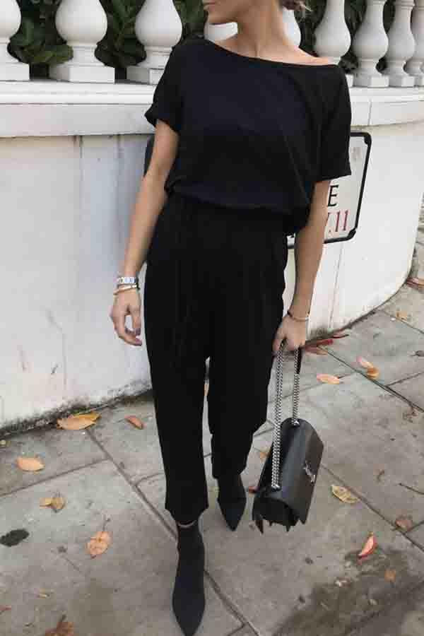 Plain Off Shoulder Casual Wear Jumpsuit