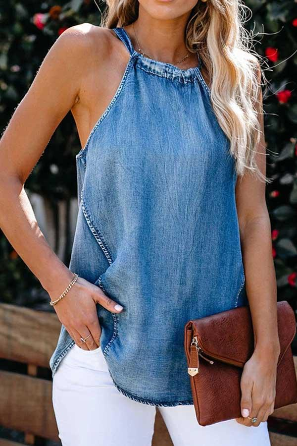 Sleeveless Solid Color Halter Neck Casual Wear Vest