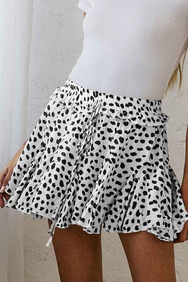 Polka Dot Regular Fit Pleated Skirt