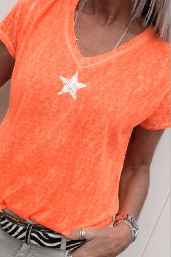 Short Sleeve Star V Neck Casual Wear T-Shirt