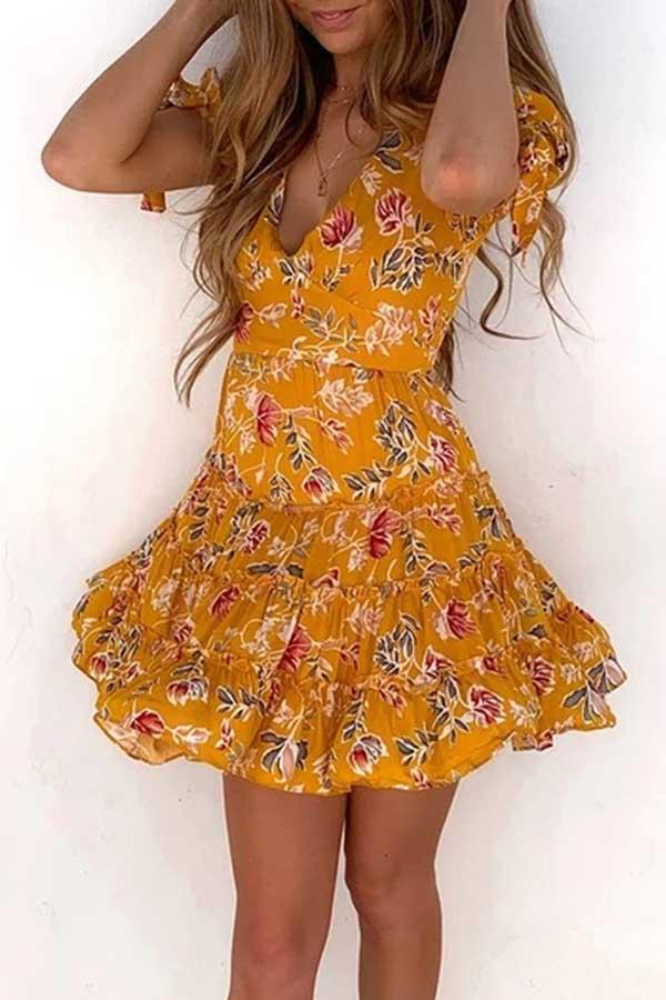 Short Sleeve Flower Print V Neck Leisurewear Dress