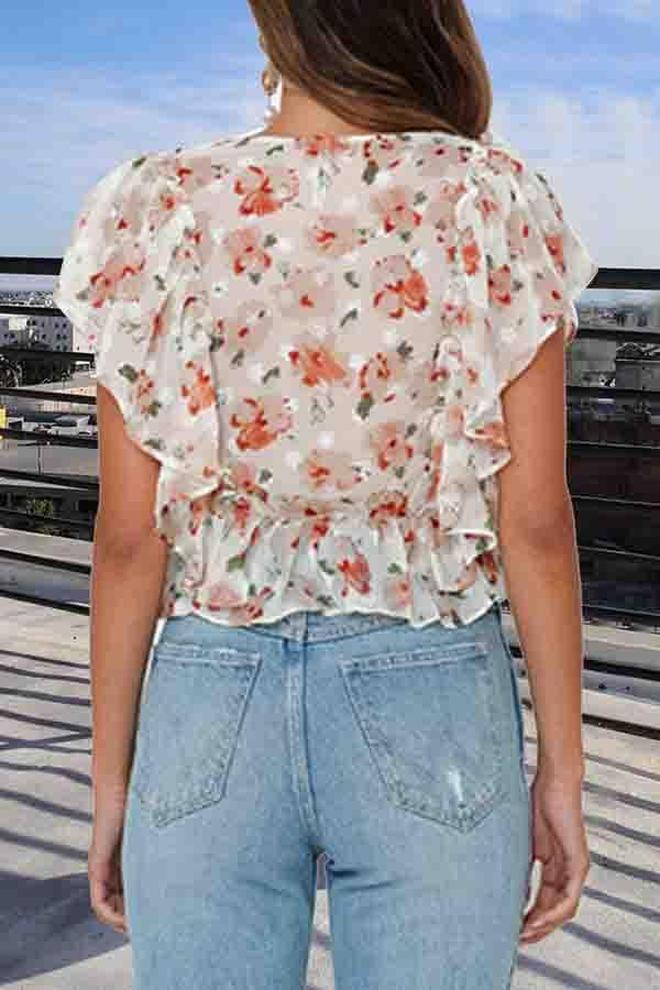 Floral Print V Neck Casual Wear T-Shirt
