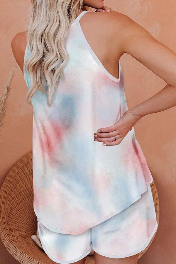 Sleeveless Print Halter Neck Casual Wear Set