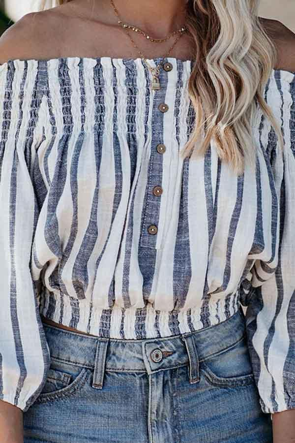 Long Sleeve Striped Off Shoulder Single Breasted Blouse