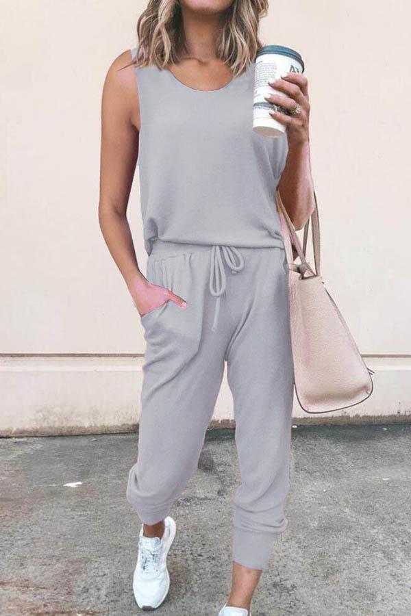 Sleeveless Solid Color Round Collar Casual Jumpsuit
