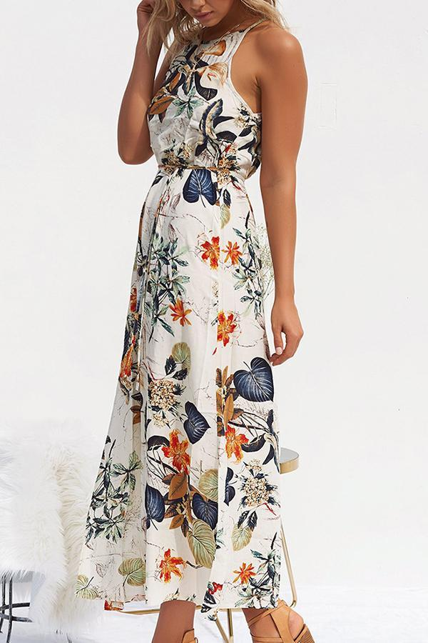 Sleeveless Floral Print Off Shoulder Casual Wear Dress