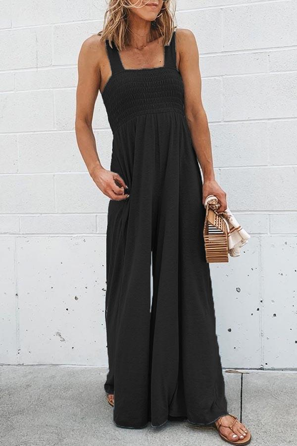 Solid Color Spaghetti Strap Leisurewear Jumpsuit
