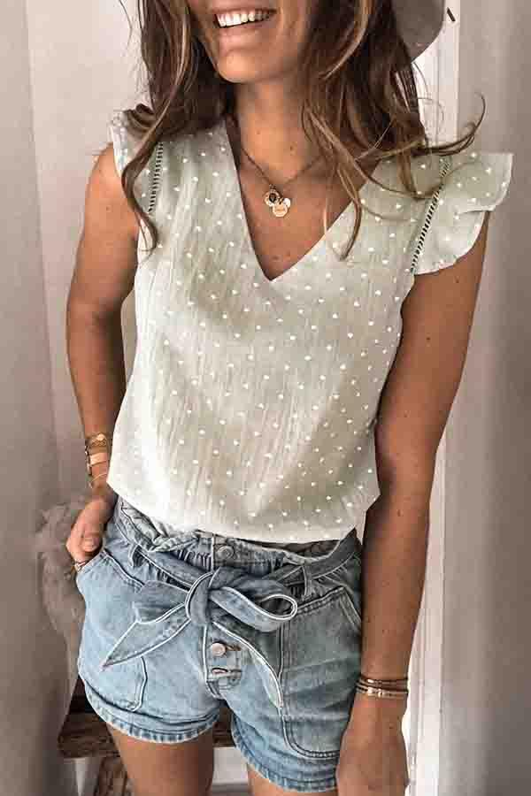 Flounce Sleeve Heart V Neck Casual Wear T-Shirt