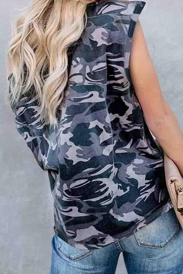 Camouflage One Shoulder Casual Wear T-Shirt