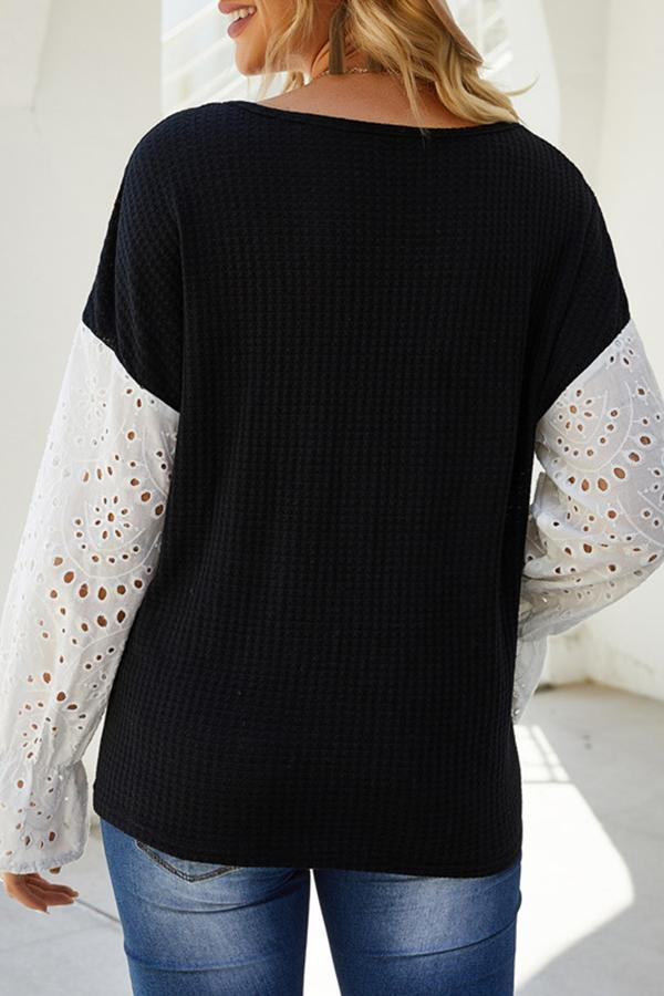 Long Sleeve Cutouts Patchwork V Neck Casual Wear Blouse