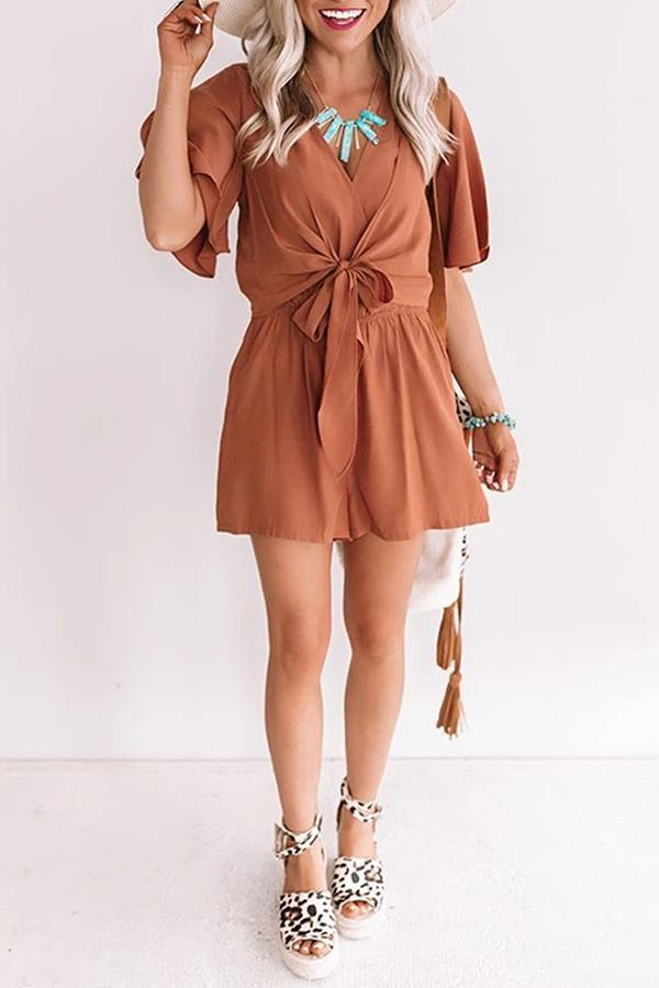 Short Sleeve Solid Color V Neck Casual Wear Romper