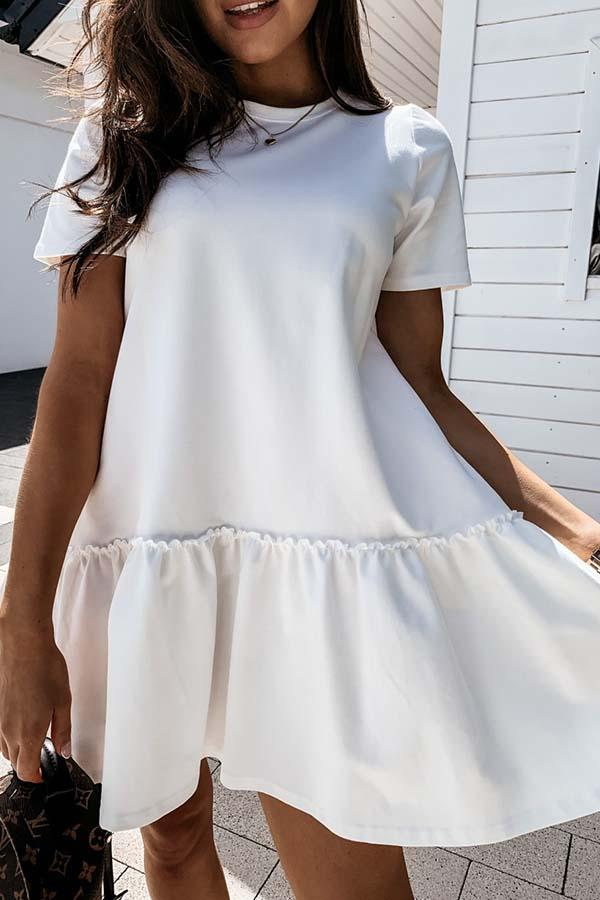 Solid Color Round Neck Pleated Dress