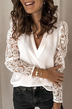 Long Sleeve Solid Color Lace V Neck Blouse