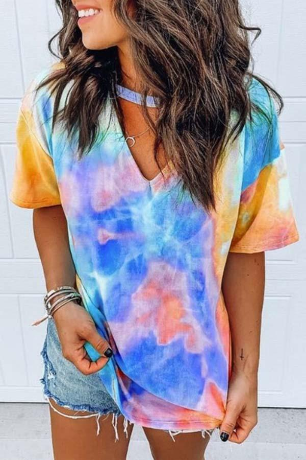 Short Sleeve Tie Dye Round Collar Stylish T-Shirt