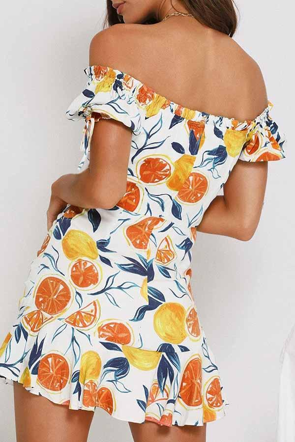 Puff Sleeve Natural Print Off Shoulder Draped Dress