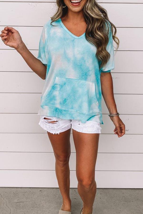 Short Sleeve Tie Dye V Neck Casual T-Shirt