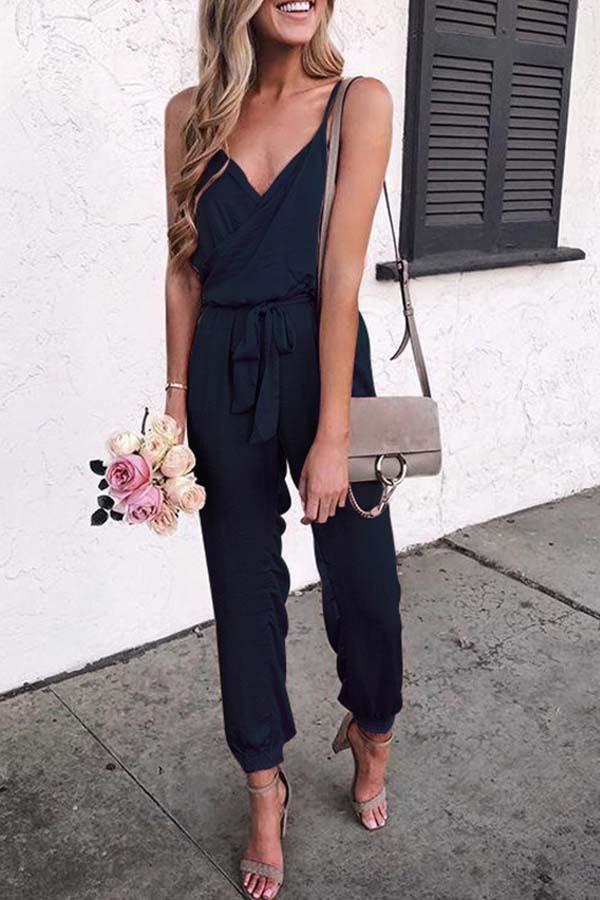 Sleeveless Solid Color V Neck Leisurewear Jumpsuit