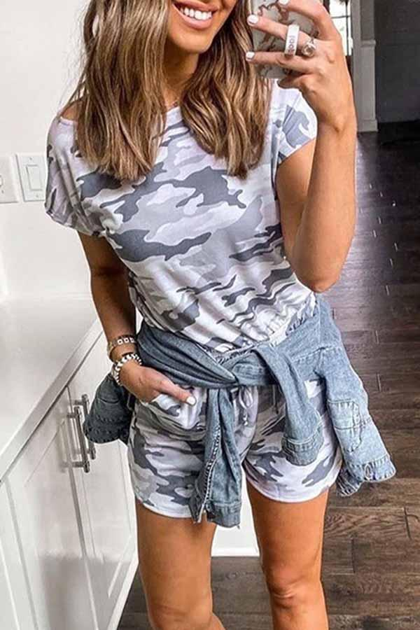 Short Sleeve Camouflage Round Collar Leisurewear Set