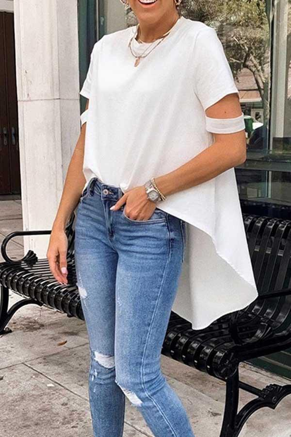 Short Sleeve Solid Color Round Collar Irregular T-Shirt