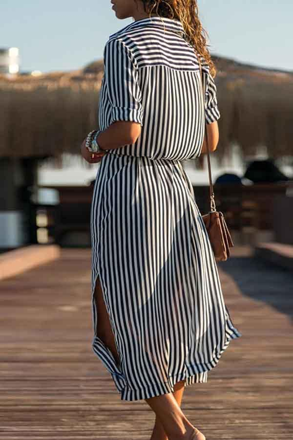 Long Sleeve Striped Turtle Neck Dress