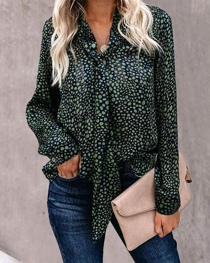 Long Sleeve Polka Dot Turtle Neck Casual Wear Blouse