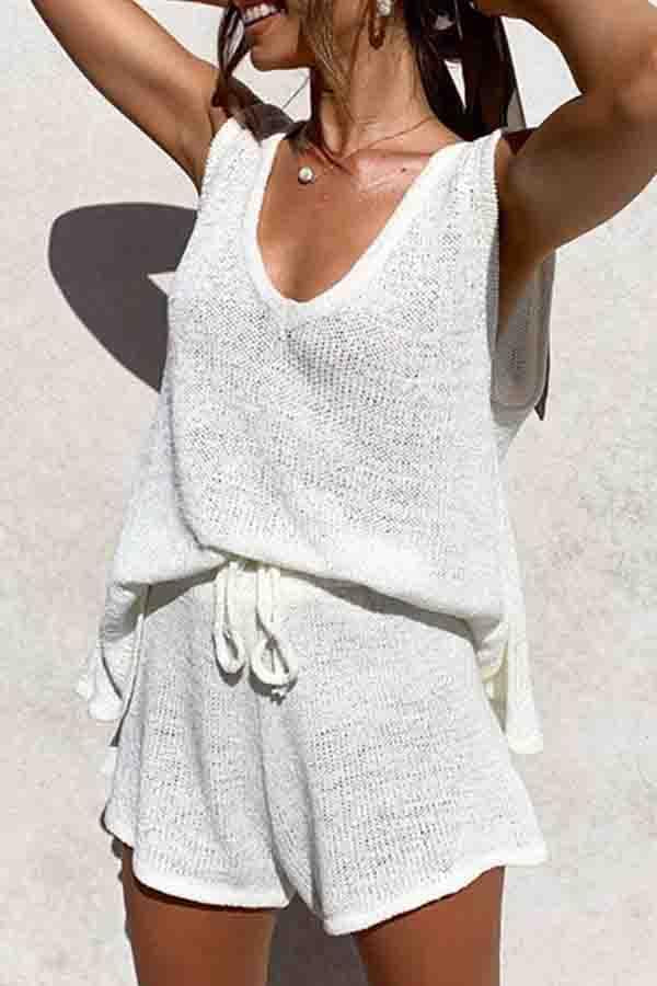 Sleeveless Plain V Neck Casual Wear Set