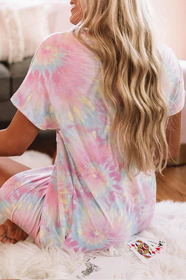 Tie Dye Round Neck Leisurewear Dress