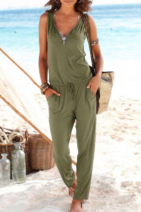 Sleeveless Solid Color V Neck Zipper Jumpsuit