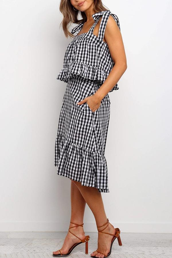 Sleeveless Houndstooth Spaghetti Strap Casual Wear Set