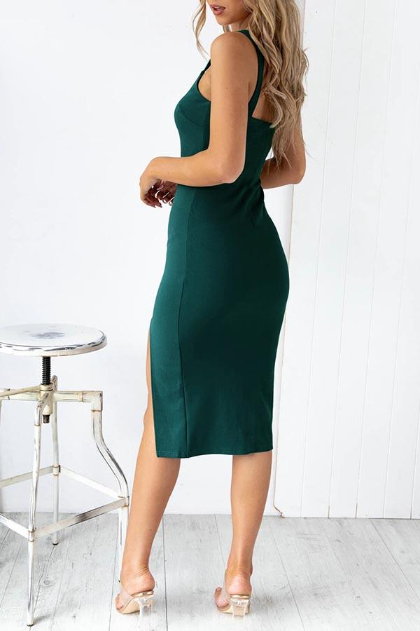 Solid Color Round Neck Fork opening Dress