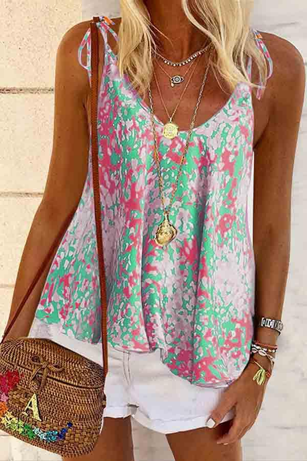Sleeveless Natural Print Spaghetti Strap Casual Wear Vest