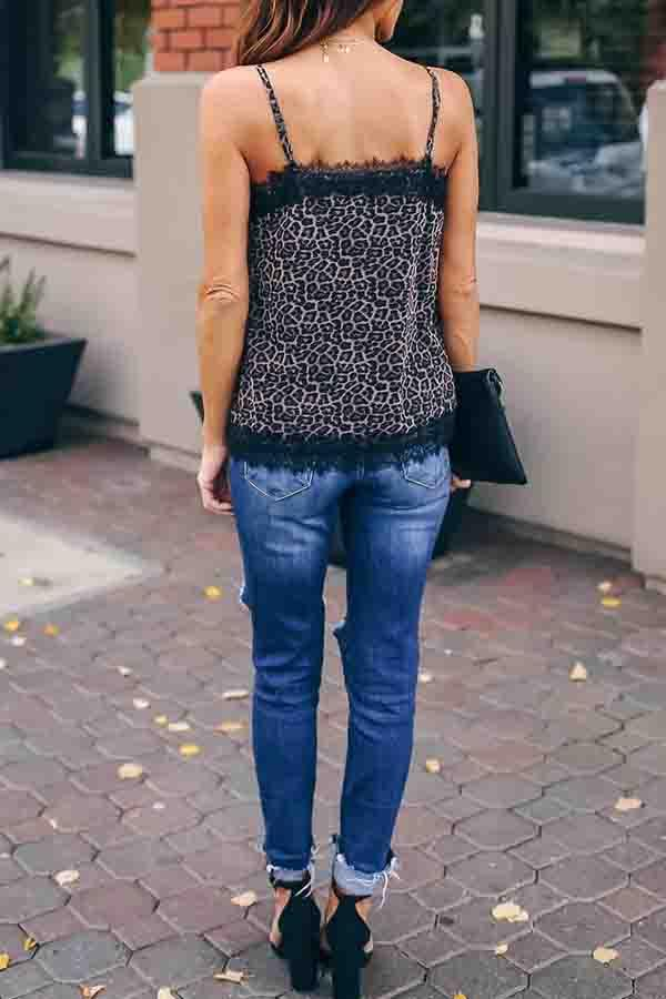 Sleeveless Leopard Print V Neck Leisurewear Vest