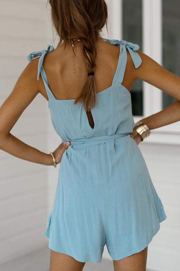 Solid Color Spaghetti Strap Lace Romper