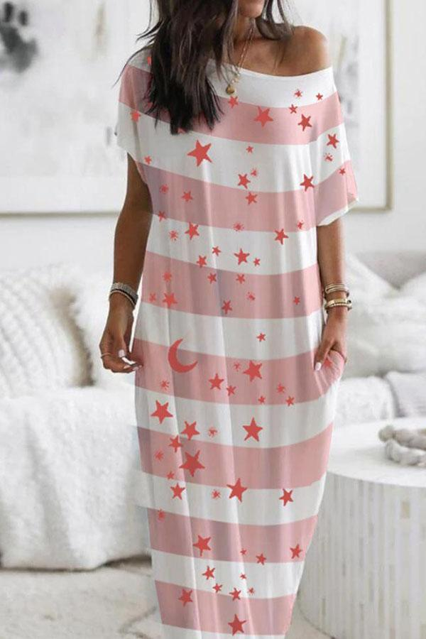 Short Sleeve Star Moon One Shoulder Casual Wear Dress