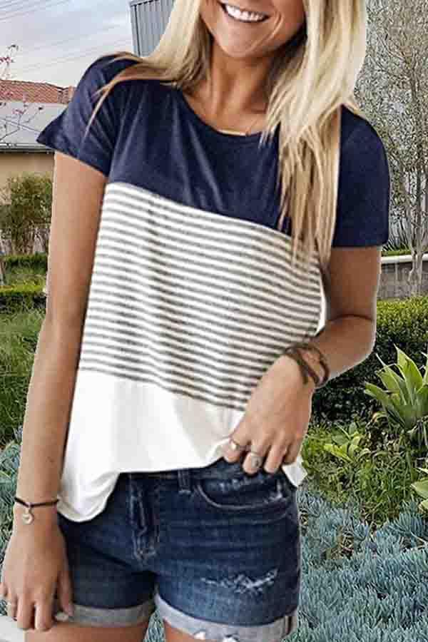 Striped Round Collar Leisurewear T-Shirt