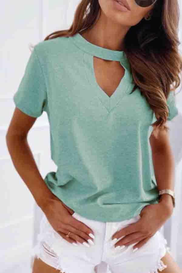 Solid Color V Neck Casual Wear T-Shirt