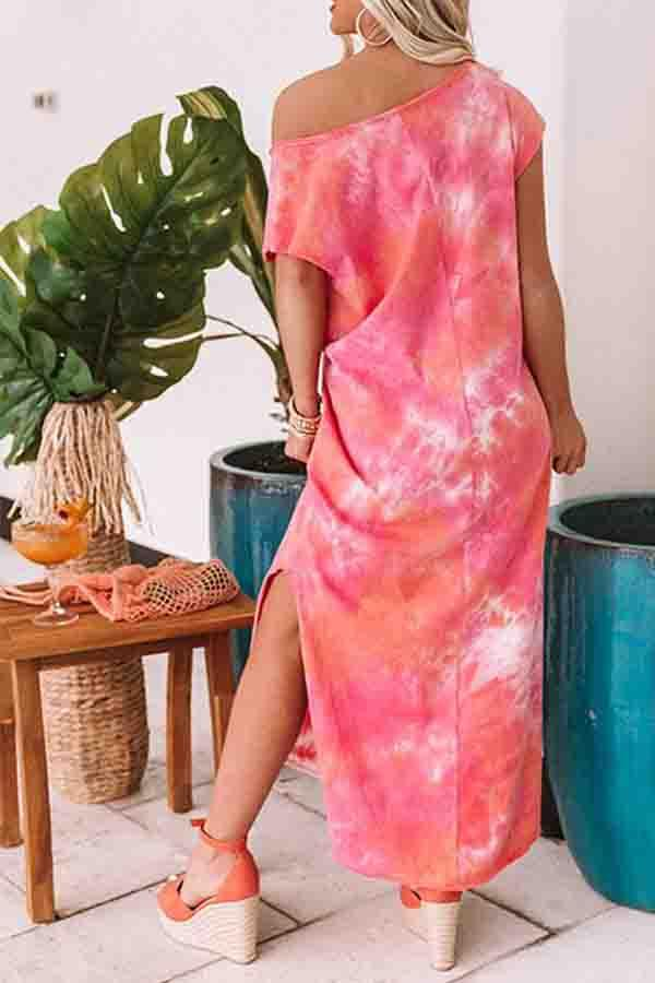 Tie Dye V Neck Casual Wear Dress