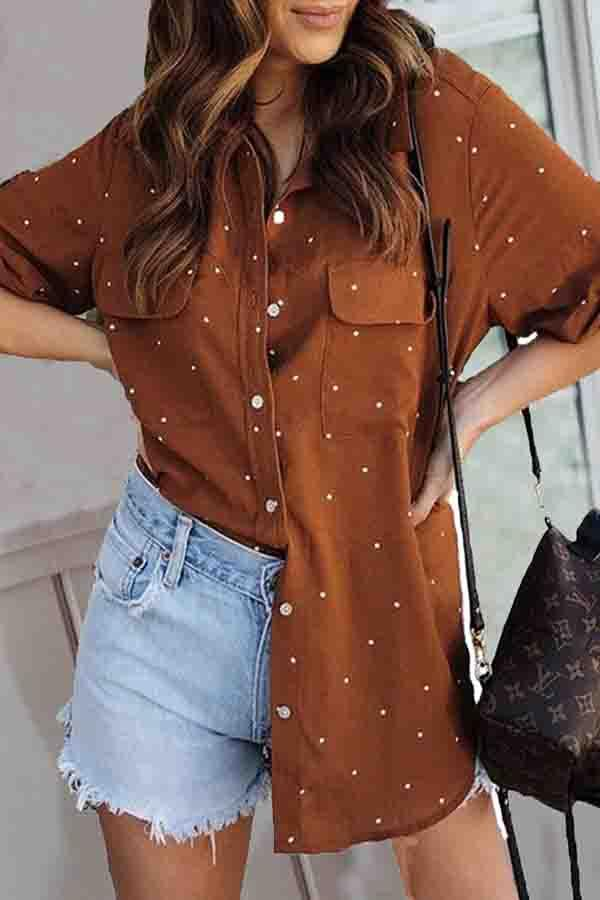 Polka Dot Shirt Collar Casual Wear Shirt