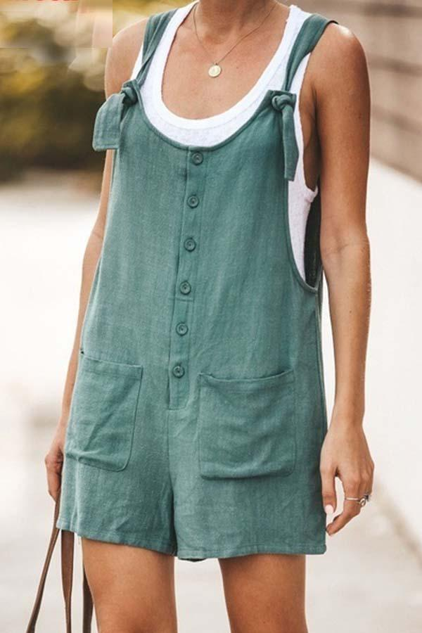 Sleeveless Solid Color Spaghetti Strap Single Breasted Romper