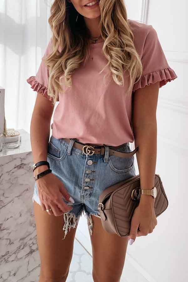 Ruffle Sleeve Solid Color Round Neck Casual Wear T-Shirt