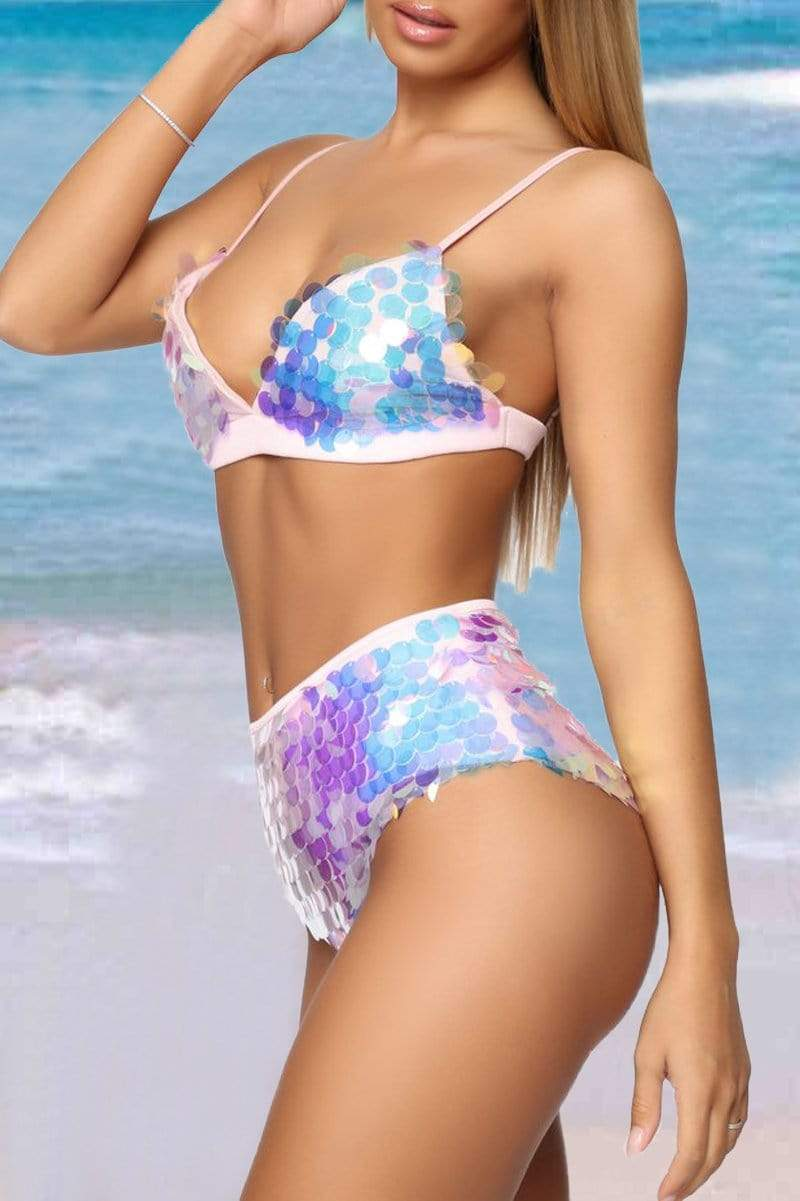 Sleeveless Sequined Spaghetti Strap Beach Bikini