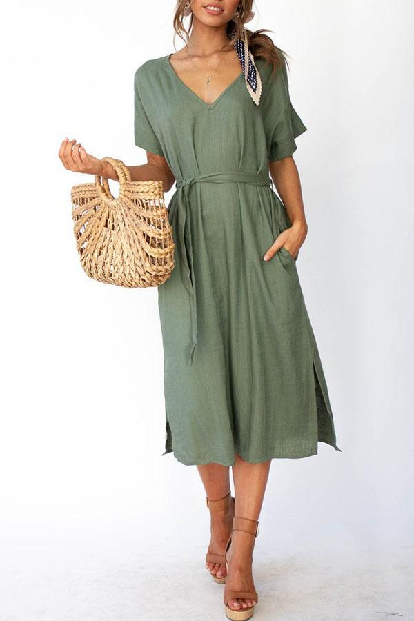 Solid Color V Neck Fork opening Dress