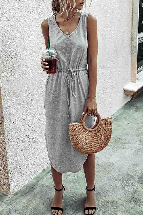 Sleeveless Lace-Up V Neck Irregular Dress