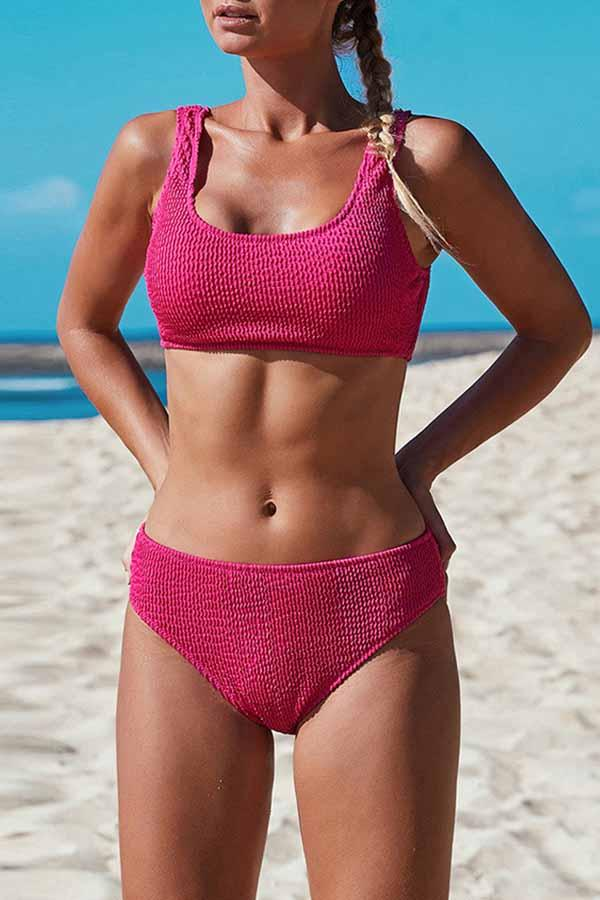 Sleeveless Solid Color U collar Beach Bikini