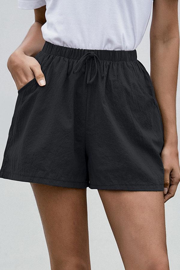 Solid Color Baggy Lace-Up Shorts