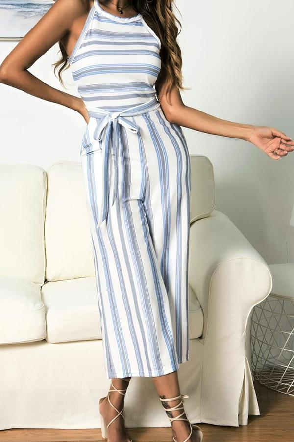 Sleeveless Striped Off Shoulder Casual Wear Jumpsuit