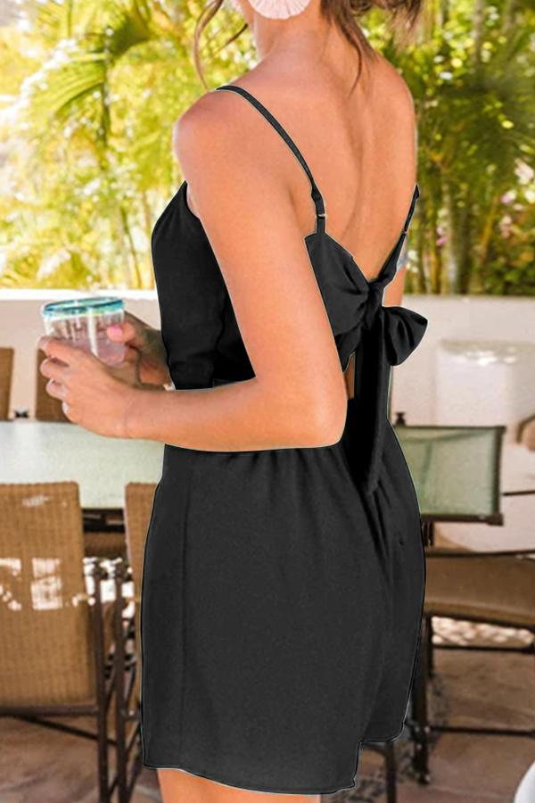 Sleeveless Solid Color Spaghetti Strap Casual Wear Romper