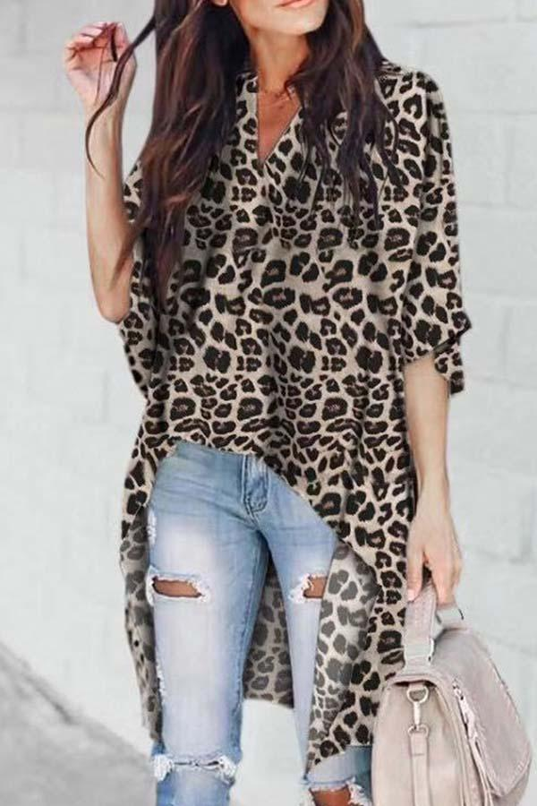 3/4 Length Sleeve Solid Color V Neck Irregular Blouse