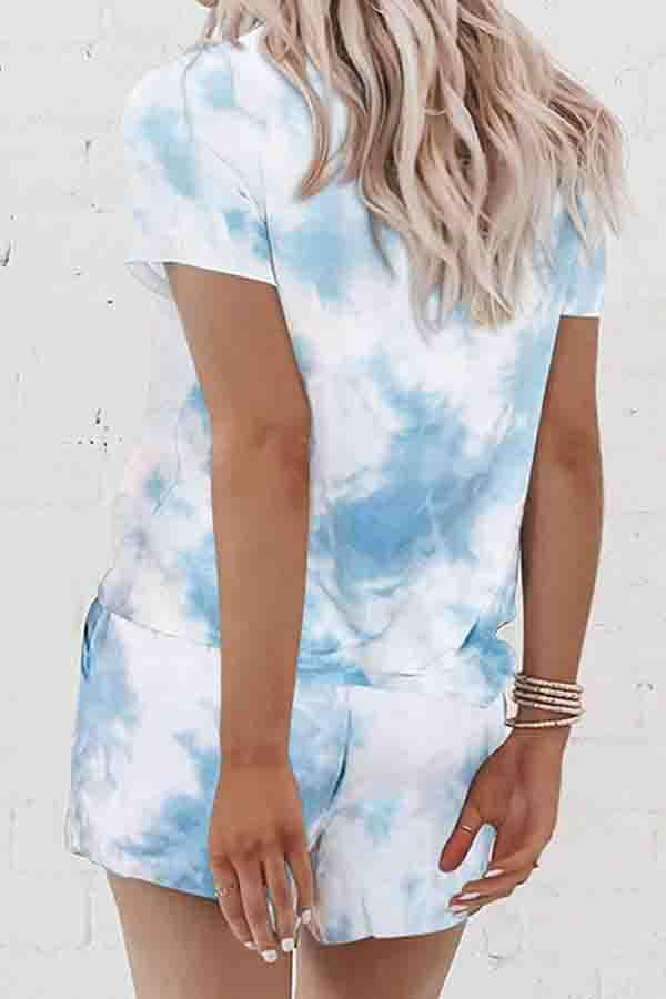 Tie Dye Round Collar Casual Wear Short Set