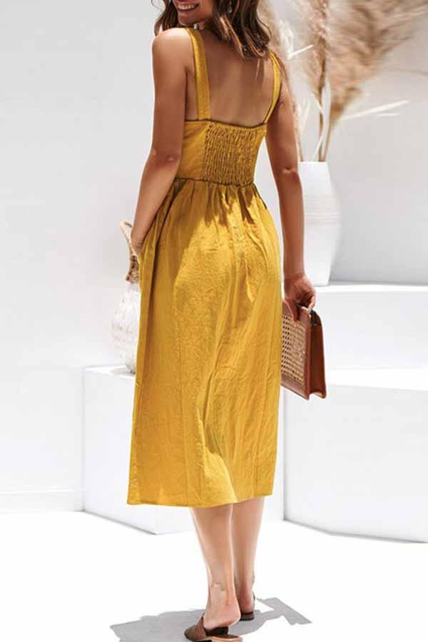 Sleeveless Solid Color Spaghetti Strap Single Breasted Dress